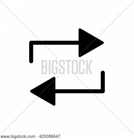 Repeat Mark Black Icon. Repeat. Trendy Flat Isolated Symbol, Sign Can Be Used For: Illustration, Out