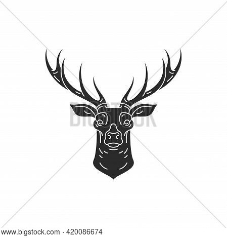 Deer Head With Horns Hand Drawn Silhouette Vector Illustration