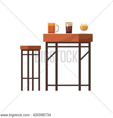 Flat Bar Furniture With Stool Table And Alcoholic Drinks Isolated Vector Illustration