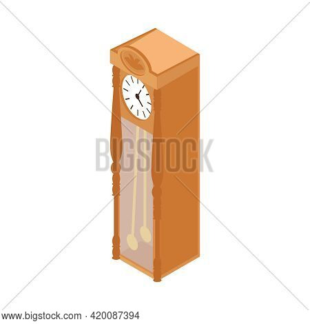Pawn Shop Isometric Composition With Isolated Image Of Antique Clock In Vertical Cabinet Vector Illu