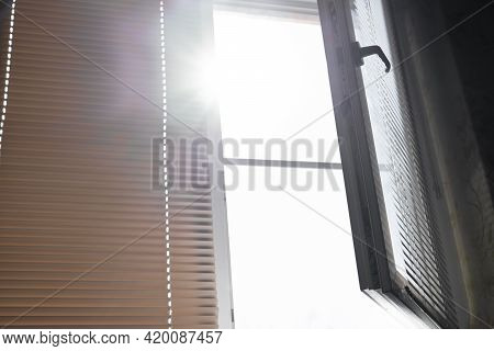 Open Window, Blinds And Sun.open Window, Blinds And Sun