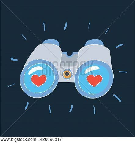 Vector Illustration Of Two Hearts And Likes Reflected In A Pair Of Binoculars Lenses On Dark
