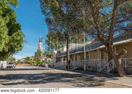 Hanover, South Africa - April 2, 2021: A Street Scene, With Historic Buildings, In Hanover In The No