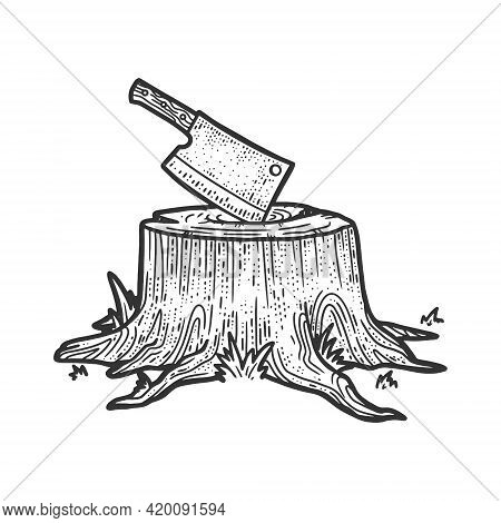Kitchen Cleaver Hatchet Knife Stuck In Tree Stump Sketch Engraving Vector Illustration. T-shirt Appa