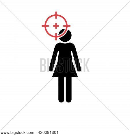 Sniper Scope Aimed On Female Black Silhouette. Red Target And Female Icon. Domestic Violence Concept