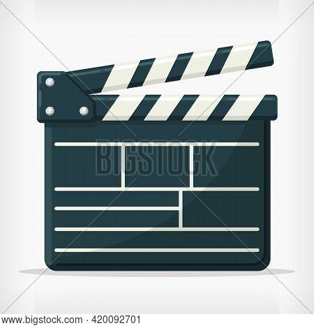 Flat Film Director Clapperboard Cinema Design Style Movie Drawing