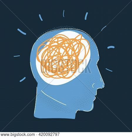 Vector Illustration Of Human Head With Mess Inside On Dark.