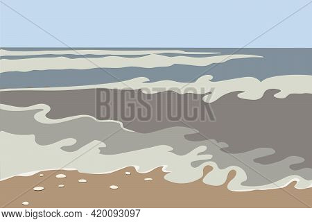Sea Abstract Landscape. Ocean Waves, Rocks On The Shore. Abstract Stylish Background With Tropical C