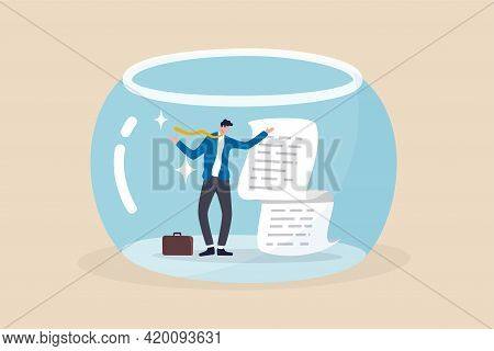 Business Transparency, Integrity Or Data Disclosure Concept, Businessman Standing With Disclosure Fi