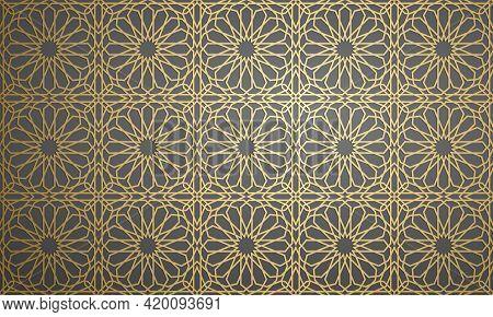 Gold Islamic Art 3d Pattern. Pattern Islamic Motif. Ramadan Kareem Vector. Design Ornament Ottoman M