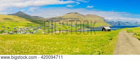 Faroe Islands, Beautiful View On  Mikladalur village, located on the island of Kalsoy, Faroe Islands