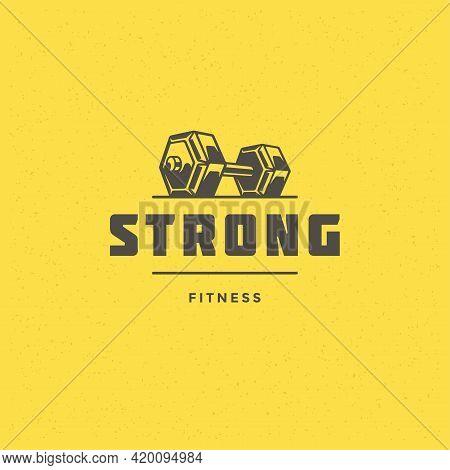 Fitness Logo Or Badge Vector Illustration Dumbbell Sport Equipment Symbol Silhouette