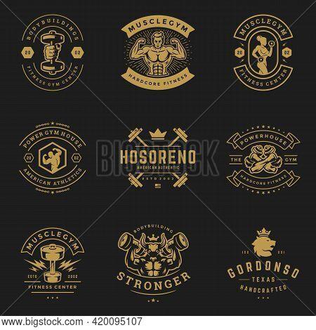 Fitness And Sport Gym Logos And Badges Design Set Vector Illustration