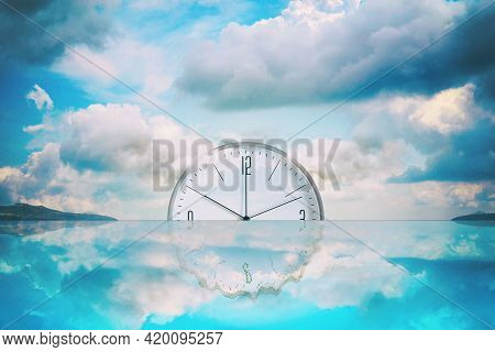 Clock That Goes Into The Water. Cloudy Sky. Reflection. Time Limit Concept. Business. Lifestyle. Bac