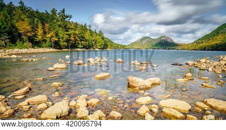 Long exposure shot of Jordan Pond in Acadia National Park in Maine