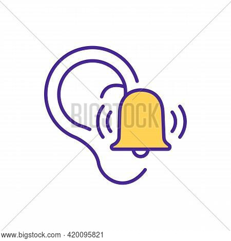Ringing In Ears Rgb Color Icon. Exposure To Loud Sounds. Hearing Loss Symptom. Tinnitus. Buzzing, Sh