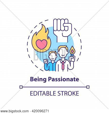 Being Passionate Concept Icon. Corporate Core Value Idea Thin Line Illustration. Showing Intense Ent