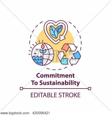 Commitment To Sustainability Concept Icon. Corporate Value Idea Thin Line Illustration. Sustainable