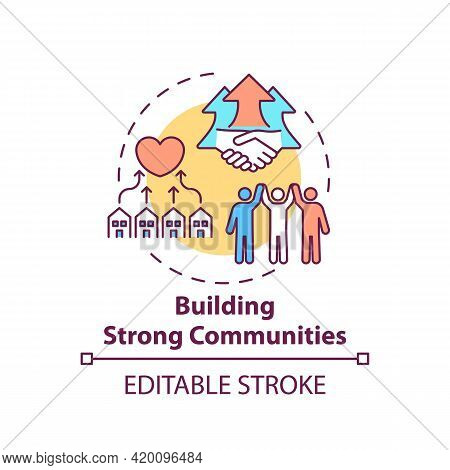 Building Strong Communities Concept Icon. Corporate Value Idea Thin Line Illustration. Supportive Re