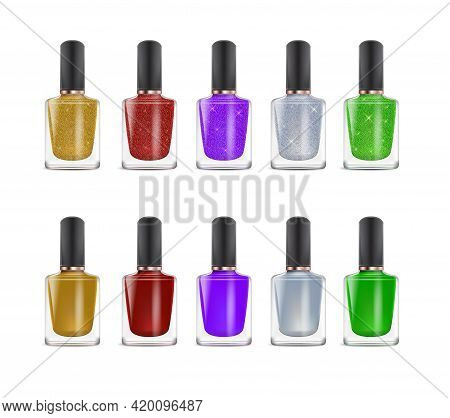 Realistic Detailed 3d Color Nail Polish Set. Vector