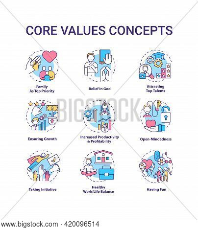 Core Values Concept Icons Set. Open-mindedness Idea Thin Line Rgb Color Illustrations. Attracting To
