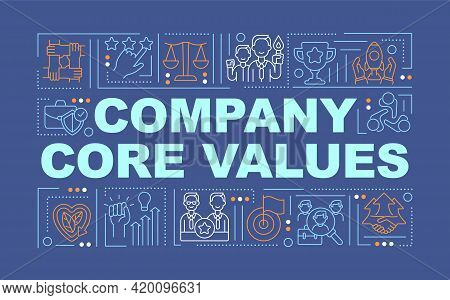 Company Core Values Word Concepts Banner. Respect Growth. Customer Experience Improvement. Infograph