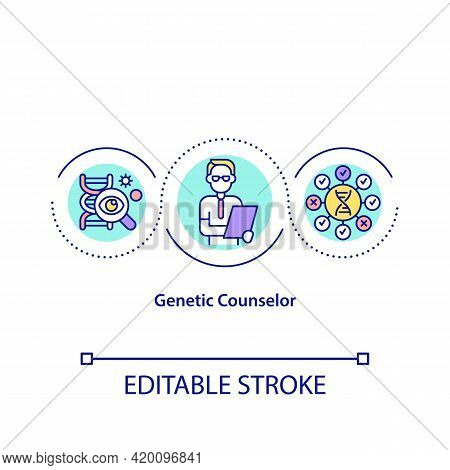 Genetic Counselor Concept Icon. Specialist Who Analyse Human Body Genetics. Research Of Health Probl