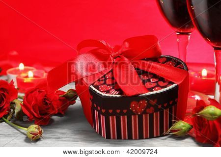 Gift Box Heart Shape With Wine And Roses
