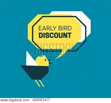Early Bird Discount Banner In Paper Cut Style. Speech Bubble With Origami Birdie. Special Discount S