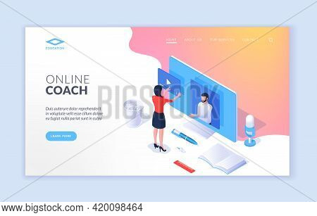 Online Coach. Landing Page Website Banner Template. Isometric Design Of Modern Website Banner With C