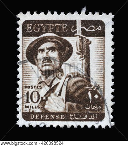 ZAGREB, CROATIA - SEPTEMBER 18, 2014: Stamp printed in Egypt shows soldier, circa 1953