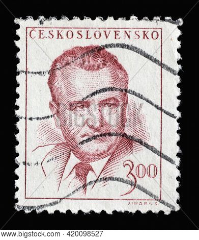 ZAGREB, CROATIA - SEPTEMBER 18, 2014: Stamp printed in Czechoslovakia shows a portrait of President Klement Gottwald, circa 1948