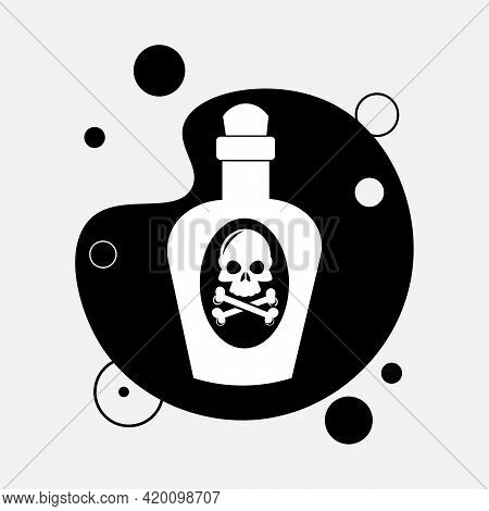 Poison Bottle Icon. Bottle Of Poison With Skull Isolated Vector Icon. Medical Design Element