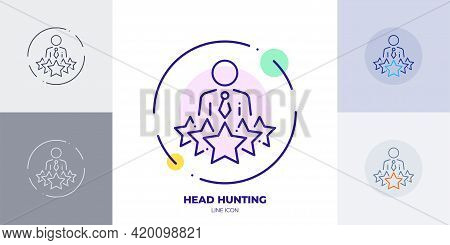 Head Hunting 5 Stars Professional Line Art Vector Icon. Outline Symbol Of Professional Staff. 5 Star