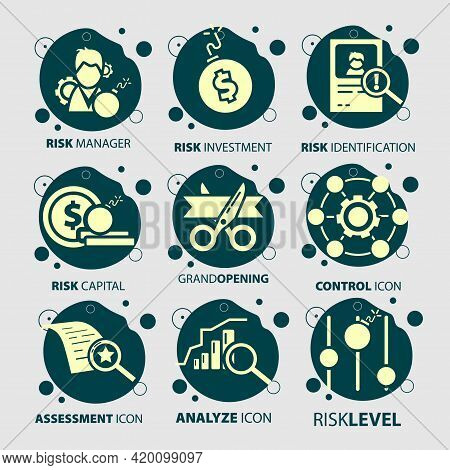 Business Icon Set With Risk Management, Risk Investment, Level Of Risk