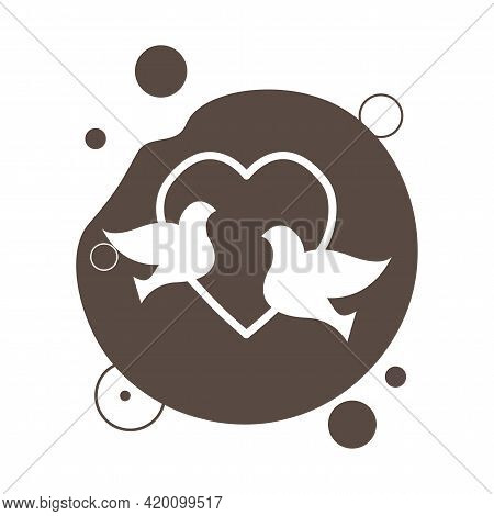 Heart With Doves Isolated Vector Icon. Doves Design Element