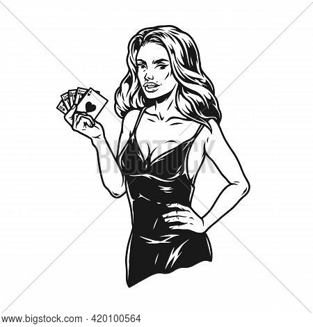 Gambling Vintage Monochrome Concept With Beautiful Lady In Elegant Dress Holding Playing Cards With