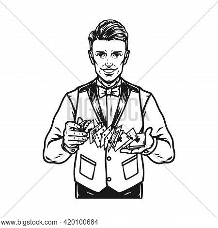Casino Vintage Monochrome Concept With Smiling Croupier Shuffles Playing Cards Isolated Vector Illus
