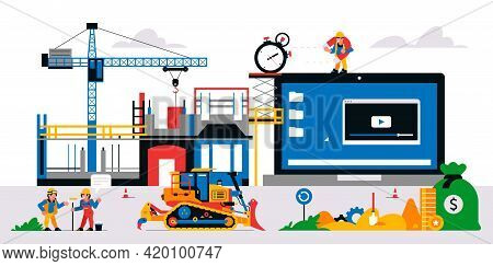 The Website Is Under Construction. Web Page Maintenance And Bug Fixes. Construction Site, Builders,