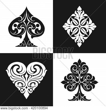 Elegant Playing Card Suits Symbols Collection In Vintage Monochrome Style Isolated Vector Illustrati