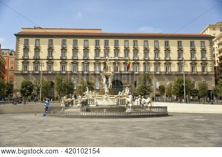Naples, Italy - September 4, 2016: View Of The Neptune Fountain At Municipio Square In Napoli, Italy
