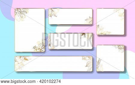 Gold Frame. Set Of Labels With Gold Flowers And Leaves. Square Frame With Summer Flowers In Vintage