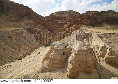 The Mountains Of Qumran Where The Dead Sea Scrolls Were Found. High Quality Photo