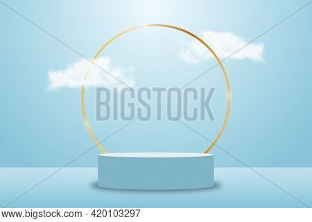 3d Blue Rendering With Platform And Realistic Clouds, Stage With Empty Pedestal And Gold Circle Fram