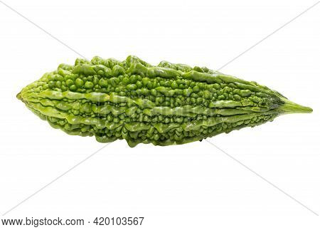 Fresh Bitter Gourd Can Be Eaten With Rice Or Made Into Herbal Medicine. Clipping Path.
