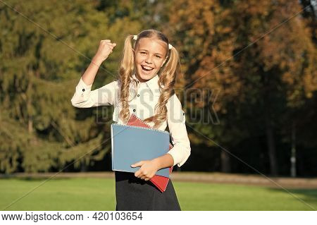 And The Winner Is. Happy Winner Celebrate Outdoors. Little Child Make Winning Gesture. Success In St