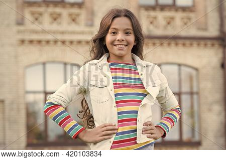 Natural And Beautiful. Hipster Kid Outdoor. Her Friendly Smile. Happy Childrens Day. Small Girl Has