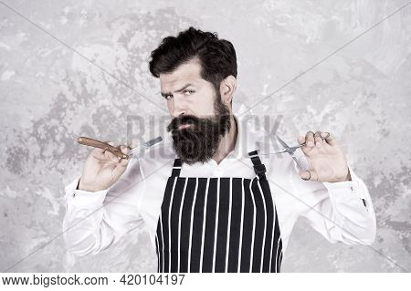Barber Tools. Barber In Apron Hairdresser Equipment Blade And Scissors. Facial Hair. Bearded Barber