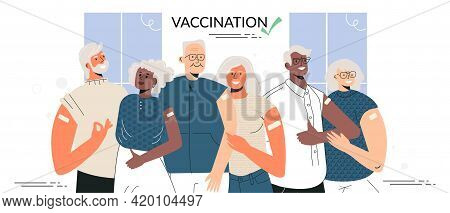 Vaccination Of The Elderly Senior People After Vaccinate Concept. Group Of Diverse Elderly Couple St