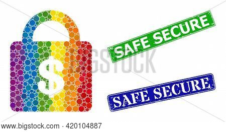 Spectrum Colored Gradient Rounded Dot Mosaic Bank Lock, And Safe Secure Unclean Framed Rectangle Sea